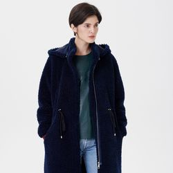 HOOD STRING LONG MUSTANG COAT NAVY