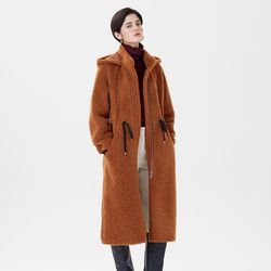 HOOD STRING LONG MUSTANG COAT CAMEL