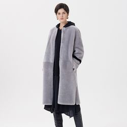 REVERSIBLE MERINO MUSTANG LONG COAT GREY
