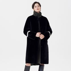 REVERSIBLE MERINO MUSTANG LONG COAT BLACK