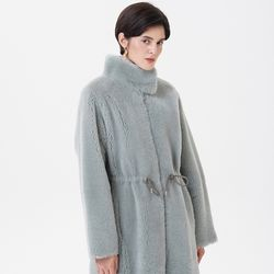REAL LAMB SKIN STRING MUSTANG COAT MINT