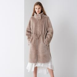 REAL LAMB SKIN STRING MUSTANG COAT BEIGE