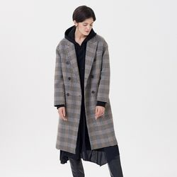 HANDMADE CHECK COAT KHAKI BROWN