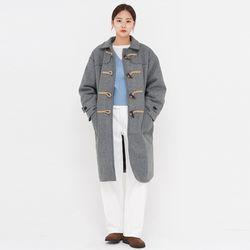 anne wool long duffle coat