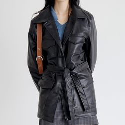 pocket glossy leather jacket (2colors)