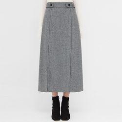 herringbone buckle wool slit skirt
