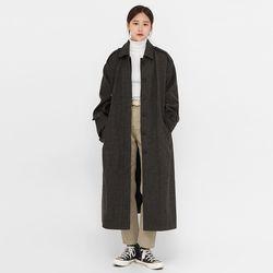 gender wool long buckle coat