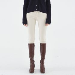 SLIM STRAGHIT COTTON PANTS CREAM