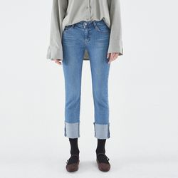 STRAGHIT ROLL UP DENIM PANTS