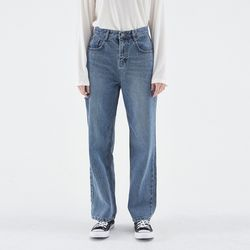 POINT DAMAGE WIDE DENIM PANTS