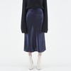 SOFT SATIN LONG SKIRT NAVY