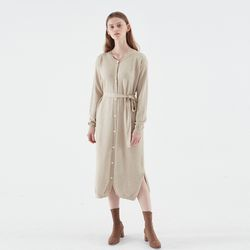 NATURAL KNIT LONG DRESS BEIGE