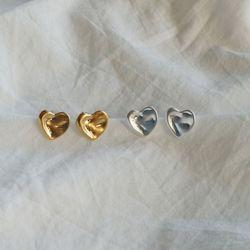 미니 하트 실버 골드 귀걸이 (2color)