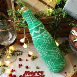 크리스마스 니트 와인홀더 (그린)