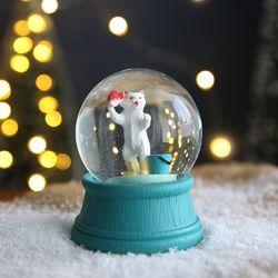 크리스마스 펫 스노우볼 동물 워터볼 M - 고기잡는고양이 -막스