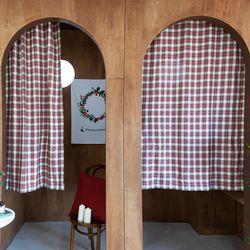 라인레드크리스마스 작은창커튼 카페커튼 110x160cm