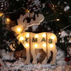LED 물방울전구 크리스마스 우드데코 (루돌프)