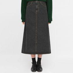 unbutton buckle denim long skirt