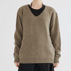 simple v neck knit (khaki)