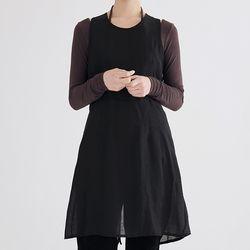 girlish midi sheer dress (black)