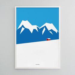 겨울 산장 M 유니크 인테리어 디자인 포스터 A3(중형)