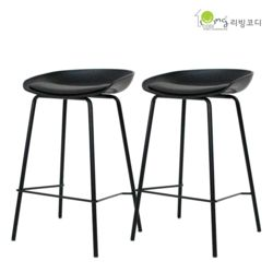 폴리쿠션 바체어 블랙 식탁의자/카페의자 2개