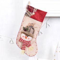빈티지 크리스마스양말 눈사람