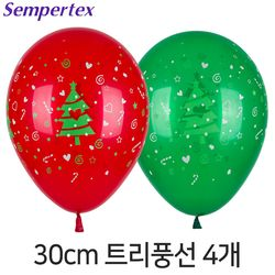 셈퍼텍스 30cm 크리스마스트리풍선 4개