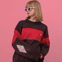 마카롱 아가일 스웨터 블랙