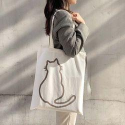 애니멀 일러스트 에코백 고양이