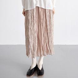 ice flower pleats skirts (beige)