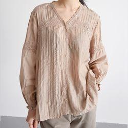 frill ruffle blouse (beige)