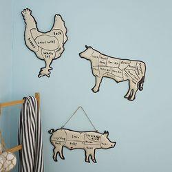 가축 철제 벽장식 (돼지 소 닭)