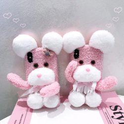 아이폰 특이한 핑크 강아지 뽀글이 겨울 퍼 폰케이스