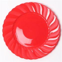 칼라 파티접시 라운드 23cm-레드(6입)