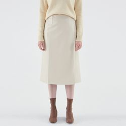 CREAMY LEATHER SKIRT IVORY