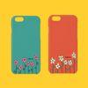 아이폰7 민트주황꽃 폰케이스