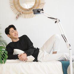 탄소강 스마트폰 태블릿 침대 탁상 거치대 자바라포함