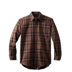 롯지 셔츠 울 체크 브라운