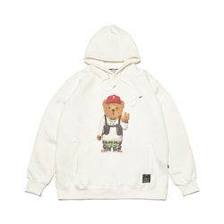 V BEAR OVERSIZED HEAVY SWEAT HOODIE WHITE
