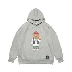 V BEAR OVERSIZED HEAVY SWEAT HOODIE GREY