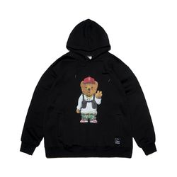 V BEAR OVERSIZED HEAVY SWEAT HOODIE BLACK