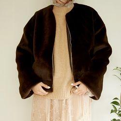 edge non collar fur jacket (2colors)