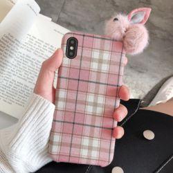 아이폰 귀여운 핑크 토끼 밍크 털 체크 패브릭 케이스