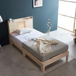 웰 편백나무 SS 마루형 LED 원목 침대매트포함 FMF183