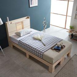 웰 편백나무 SS 평상형 LED 원목 침대 FMF177