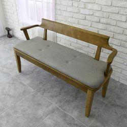 코로 고무나무 원목 3인용 벤치의자