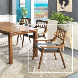 사틀 고무나무 원목 식탁 의자