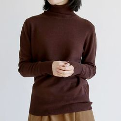 loose knit polo-neck top(4colors)