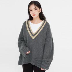 gaze stripe v-neck knit